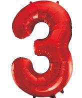 Balão Grande Número 3 Vermelho 34″