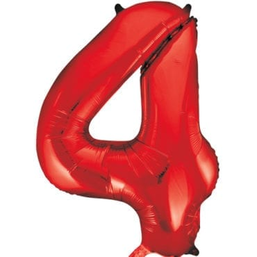 Balão Grande Número 4 Vermelho 34″