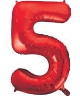 Balão Grande Número 5 Vermelho 34″
