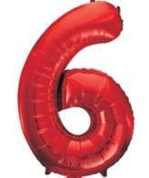 Balão Grande Número 6 Vermelho 34″