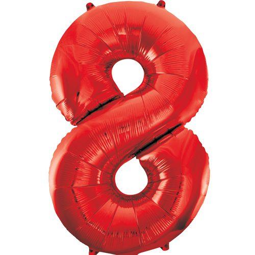 Balão Grande Número 8 Vermelho 34″