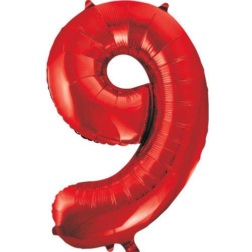 Balão Grande Número 9 Vermelho 34″
