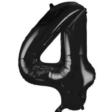Balão Grande Número 4 Preto 34″