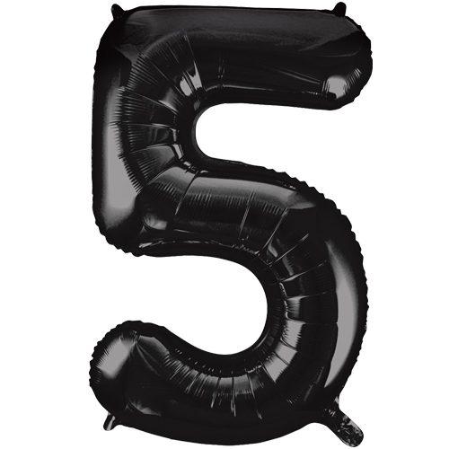 Balão Foil Número 5 Preto 34″