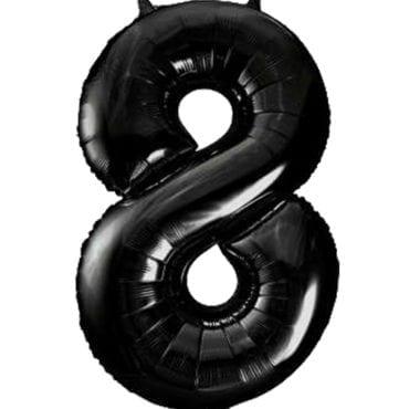 Balão Grande Número 8 Preto 34″
