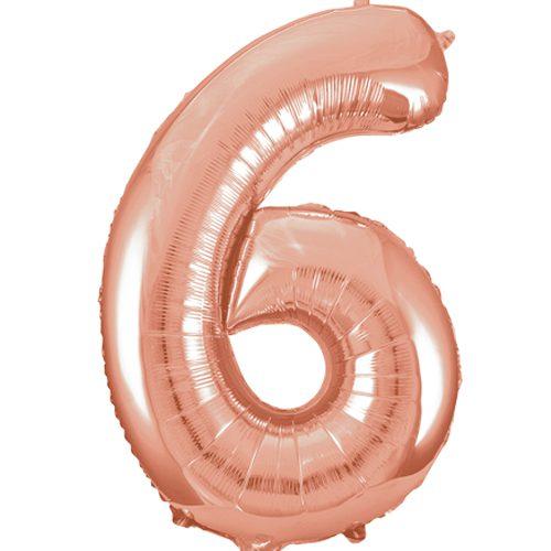 Balão Grande Número 6 Rose Gold 34″