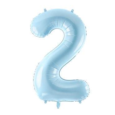 Balão Grande Número 2 Azul Bebé 34″