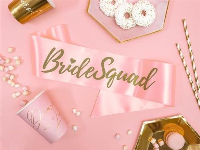 """Faixa """"Bride Squad""""Rosa"""